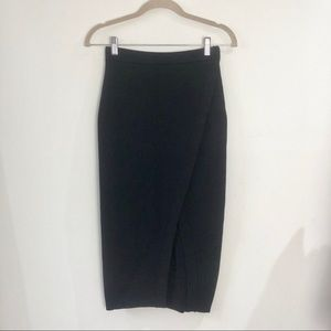 Black midi, bodycon skirt with front slit, XS/S